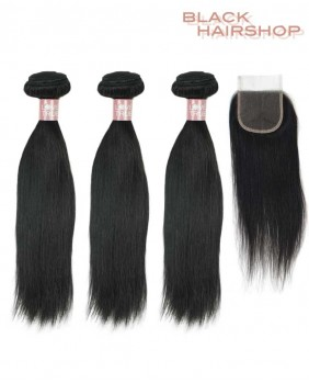 Lot Tissage bresilien lisse + Closure 4x4